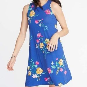 OLD NAVY Blue Floral Sleeveless Swing Dress